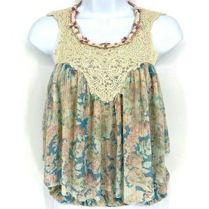Free People Ocean Floral Penelope Lace Blouse XS